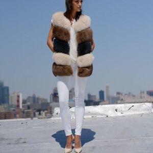 La Fiorentina Two Toned  Dyed Fox Fur Bubble Vest